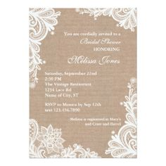 Vintage Burlap and Lace Rustic Country Chic BRIDAL SHOWER Invite Announcements Invitation  * Order 25 invites and save 15%, order 50+ invites and save 25% off every order, great DEAL!*  #wedding #bridalshower #vintage #rustic #country #lace