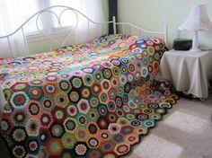 Granny Square Crochet Blanket...Queen size  Crochet by GalyaKireva