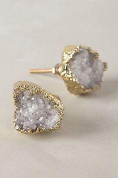 Crowned Quartz Knob Earrings