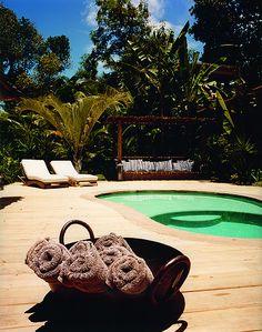 Private pool of Casa Seu João at UXUA Casa Hotel & Spa. Trancoso, Bahia.