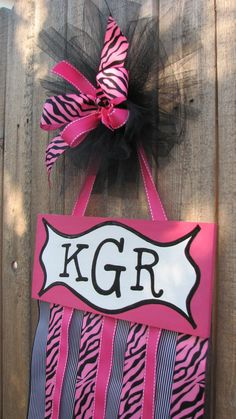 Hot Pink Zebra Hair Bow Hanger with Initials!