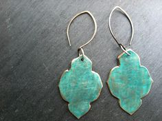 Teal Moroccan Veridigris Earrings by shopchristinanicole on Etsy, $42.00