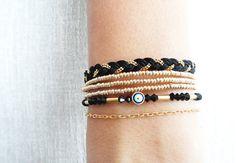 Evil eye bracelet black gold ethnic ottoman arabic islamic turkish bracelet