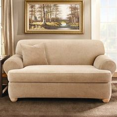 Sure Fit Stretch Stripe 2-Piece T Loveseat Slipcover, Sand by Sure Fit. $119.98. Made in china; machine wash separately in cold water, gentle cycle; do not use bleach. 94-percent polyester / 6-percent spandex. Loveseats 58-inch-73-inch outside arm to outside arm. Add color and texture to your room wit The new Stretch Stripe t-cushion slipcovers. The subtle stripe pattern and four decor-friendly colors blends well with any room setting. Imported.94-Percent Polyester / 6-Percent...