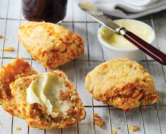 These warm scones are so moreish. It will be hard to not split them open as soon as they come out of the oven and spread with butter! Cheese Scones, Savory Scones, Butter Spread, Scottish Recipes, Savoury Baking, Cheese Spread, Brunch, Baking Recipes, Yummy Food