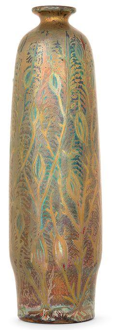 ** Clément Massier, Iridescent Glazed Decorated Ceramic Vase.