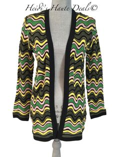 4ce1f7ab5c M Missoni Green Multicolor Lurex Wave Knit Cardigan Sweater 6 (s Small)  42it for sale online