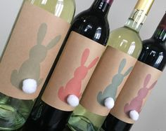 Easter Wine Labels Easter Table Decorations Easter by NMTMdesigns