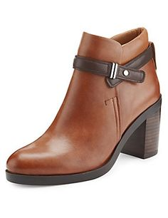 Black Leather Ankle Strap Boots with Insolia®