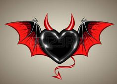 Heart Stock Vector Illustration And Royalty Free Heart Clipart heart: black heart with vampire wings and horn Illustration<br> Angel Devil Tattoo, Angel And Devil, Music Drawings, Art Drawings, Angel Y Diablo, Emoji, Valentines Day Drawing, Wings Drawing, Gothic Tattoo
