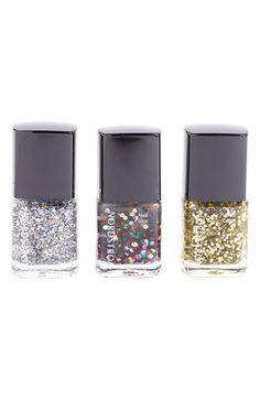 'Glitter' Mini Lacquer Trio glitter nails for the holidays - yes! Love Nails, How To Do Nails, Pretty Nails, Fancy Nails, Glitter Nail Polish, Gel Nails, Manicure, Nail Polishes, Gel Designs
