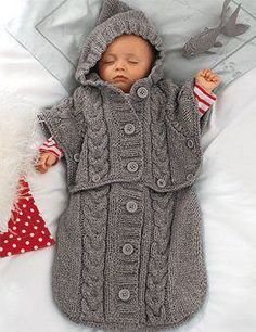 Baby Knitting Patterns Sleeping Bag Knit Baby Sleeping Bag Pattern – Converts to Hooded Poncho Baby Boy Girl Knittin… Knitting For Kids, Baby Knitting Patterns, Baby Patterns, Crochet Patterns, Poncho Patterns, Baby Sleeping Bag Pattern, Chunky Babies, Baby Cocoon, Hooded Poncho