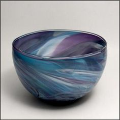 """Artist Bryon Goldenberg, Slow Burn Glass, Large Bowl from his marble series. The mix of blue, purple and white make up this striking colored bowl. Comes artist signed. Approximately 18""""w x 8""""h."""