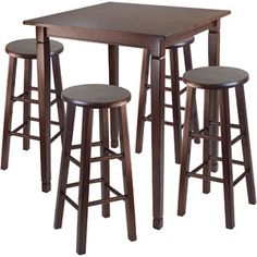 5-Piece Kingsgate High Dining Set with Essential Stools, Multiple Finishes