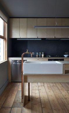 interior. exterior. kitchen. bathroom. sink. plumbing parts faucet. spigot. cabinet. light wood. dark grey backsplash. http://www.remodelista.com/posts/trend-alert-10-diy-copper-piping-faucets-homemade-kitchen-and-bath-faucets/