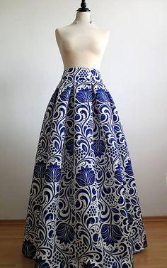 EVART / slávnostná sukňa Modrý ornament