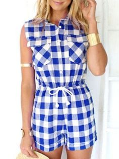 Shop Blue Check Print Drawstring Waist Pocket Shirt Romper Playsuit from choies.com .Free shipping Worldwide.$20.69?utm_source=web