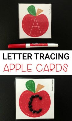 Free tracing letters printable apple cards for preschool and kindergarten. Great ABC activity for fall.
