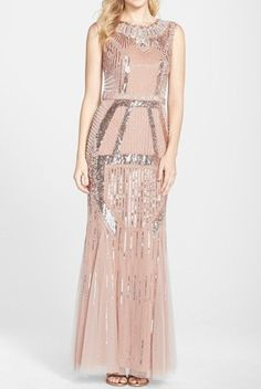 JS Boutique Blush Pink Beaded Art Deco Shine Gown Dress | Poshare Beaded Evening Gowns, Sequin Evening Dresses, Beaded Gown, Formal Dresses, Beaded Dresses, Art Deco Wedding Dress, Art Deco Dress, Wedding Dresses For Sale, Vestidos Kate Middleton