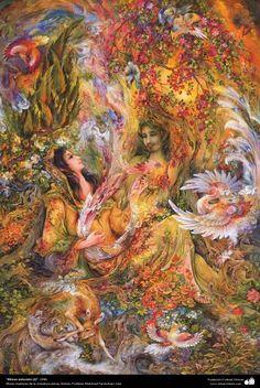 """Natural Rhythms (2)"" 1996 - Persian painting (Miniature) - by Prof. M. Farshchian."