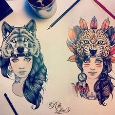AMAZING Tattoo drawing of two girls, one with a wolf hat and one with a leopard hat, very native American