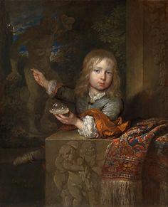 A boy blowing soap bubbles (Caspar Netscher - 1679)