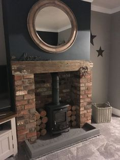 Good Images Brick Fireplace design Strategies Most up-to-date Free of Charge blue Brick Fireplace Style Hague Blue # Brick Fireplace Decor, Cosy Fireplace, Cottage Fireplace, Fireplace Design, Fireplace Ideas, Cottage Living Rooms, Home Living Room, Living Room Designs, Living Room Decor