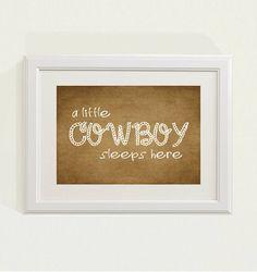 Brown a little cowboy sleeps here Nursery by SweetSiennaPrints, $18.00