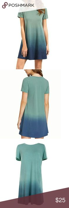 Casual Ombre Beach T-Shirt Very soft 100% cotton and comfy. Color varies in shades, from green to blue.  The bottom  of my dress seems to be a lighter blue.  I took it out of the package  that's why its  wrinkle. It's has a nice soft feel to it. Dresses Midi