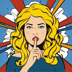 Woman Says Shh! Retro Vintage Keep Silent by Cheremuha Pin up woman putting her forefinger to her lips for quite silence. Pop art girl says sh Pop Art Vintage, Retro Vintage, Desenho Pop Art, Angry Women, Pop Art Women, Pop Art Posters, Pop Art Girl, Retro Girls, Comic Styles