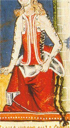 1283-87, Libro de Ajedrez, Dados y Tablas de Alfonso X el  Sabio, Biblioteca del Monasterios de San Lorenzo Escorial, Madrid (detalle).  Too weird to ignore.  Mystery side laced garment under the surcote over the first outer layer.