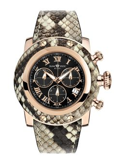 GR11114: Rose Gold IP Stainless Steel with Genuine Python Natural Case Cover and Strap