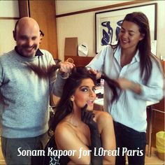 Sonam Kapoor getting her hair done!