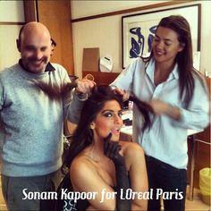 Sonam Kapoor getting her hair done!