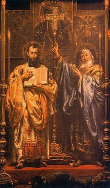 """Cyril and Methodius, painting by Jan Matejko, 1885 Through their work they influenced the cultural development of all Slavs, for which they received the title """"Apostles to the Slavs"""". Catholic News, Catholic Saints, Catholic Art, Greek Brothers, Christian Missionary, The Transfiguration, Christ The King, The Good Shepherd, Pope John"""
