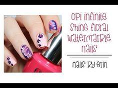 OPI Infinite Shine Floral Watermarble Nails #TUTORIAL #lavender #prettymani  #nailart - bellashoot.com