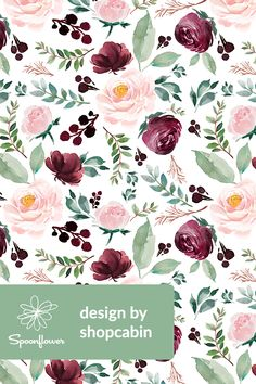 Ideas indie wallpaper iphone art heart for 2019 Floral Wallpaper Iphone, Flower Wallpaper, Fabric Wallpaper, Watercolor Pattern, Floral Watercolor, Flower Prints, Flower Art, Little Hands Wallpaper, Fabric Flowers