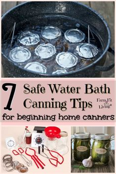 7 Safe Water Bath Canning Tips for Beginning Home Canners Are you interested in learning more about water bath canning? I'm making it simple for you today. Here's 7 safe canning tips using water bath that will help you get started. Home Canning Recipes, Canning Tips, Canning Water, Pressure Canning Recipes, Easy Canning, Chutney, Water Bath Cooking, Canning Food Preservation, Preserving Food