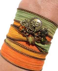 Namaste Om Silk Wrap Bracelet Yoga Jewlery Buddha Arm Band Sacred Elephant Fall Autumn Unique Gift For Her Christmas Under 50 Item X2, $30.95