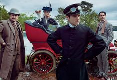 The September 2012 Vogue issue pays homage to American novelist Edith Wharton's 'The Custom of the Country,' photographed by Annie Leibovitz. Pictured: Henry James (novelist Jeffrey Eugenides, far left) and Morton Fullerton (actor Jack Huston, far right), Edith Wharton (Natalia Vodianova)  in vehicle and her loyal chauffeur, Charles Cook (actor Elijah Wood) in front.