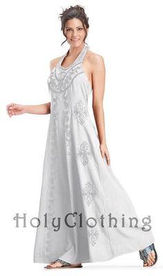 White Ivory Sheelin A Line Retro Vtg Hippie Bohemian Maxi Halter Sun Dress - White - Shop by Color - Dresses