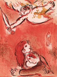 """The Face of Jacob (Israel) from the cycle """"Illustrations for the Bible"""" Marc Chagall 1960"""