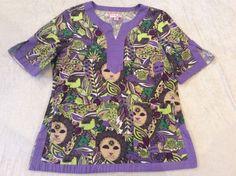 Koi Scub Top Large Womens Purple Tunic Style Nurse Colorful Lion Floral #Koi Stylish Scrubs, Koi, Floral Tops, Tunic, Colorful, Purple, Blouse, Women, Style