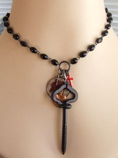 Antique Coffin Screw on Mourning Glass Rosary Chain Necklace w/Charms * OOAK!  #Chain