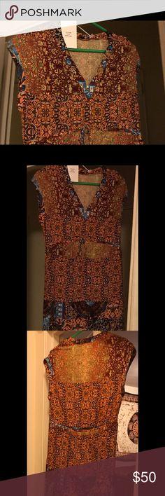 Beautiful long Maxi Grifflin Paris Dress Multi color Orange Ankle length, short Sleeve, draw Sting at waist, V neck Grifflin Paris Dresses Maxi