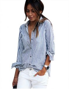 Fashion Spring Clothes For Women Casual Striped Long Sleeve Loose Blouse Shirt
