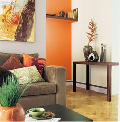 decoration salon design peinture murale harmonie couleur gris et orange