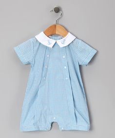 Take a look at this Blue Gingham Anchor Romper - Infant by Hug Me First on #zulily today!