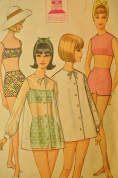 Misses' Bathing Suits and Beach Jacket Size 10 by ClassicCabin - vintage sewing pattern 1960s