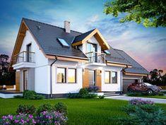 DOM.PL™ - Projekt domu DN KARMELITA BIS 2M CE - DOM PC1-47 - gotowy koszt budowy Home Fashion, Cabin, Mansions, House Styles, Modern, Dom, Home Decor, Projects, Trendy Tree